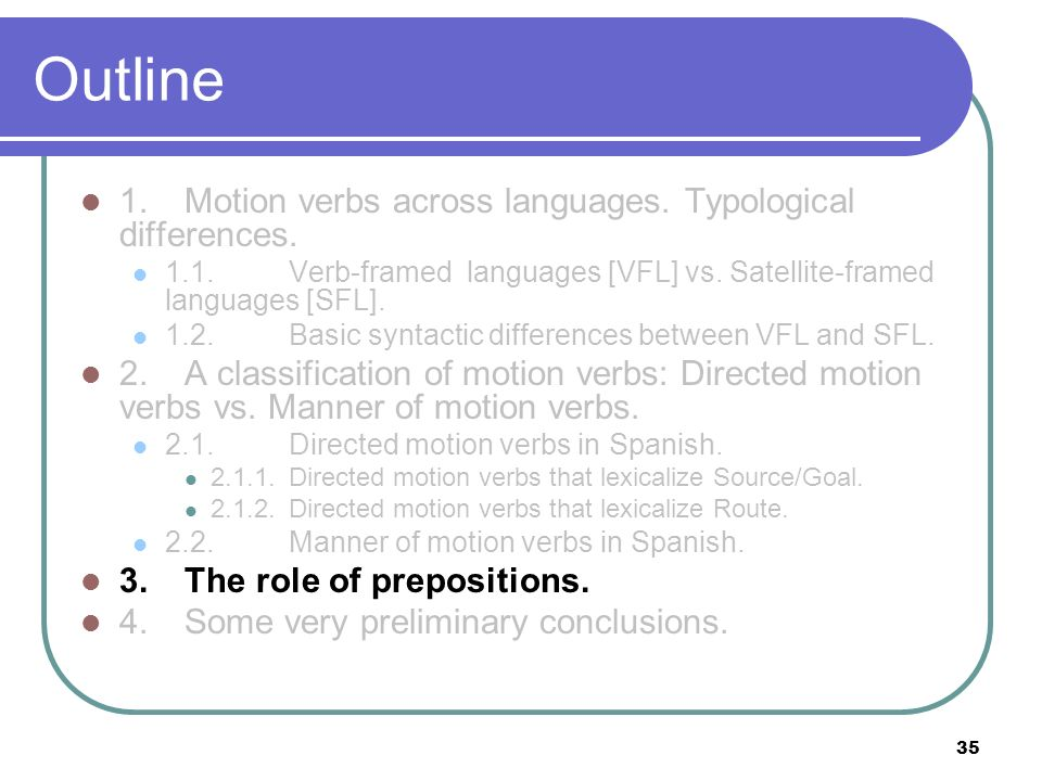 35 Outline 1.Motion verbs across languages. Typological differences. 1.1.Verb-framed languages [VFL] vs. Satellite-framed languages [SFL]. 1.2. Basic