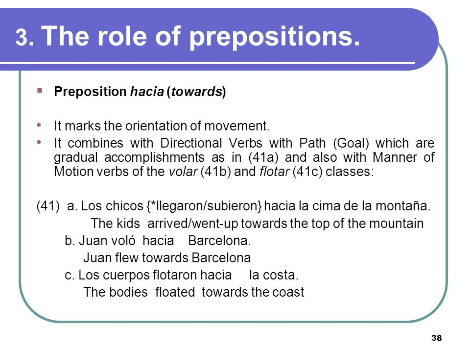 38 3. The role of prepositions. Preposition hacia (towards) It marks the orientation of movement. It combines with Directional Verbs with Path (Goal)