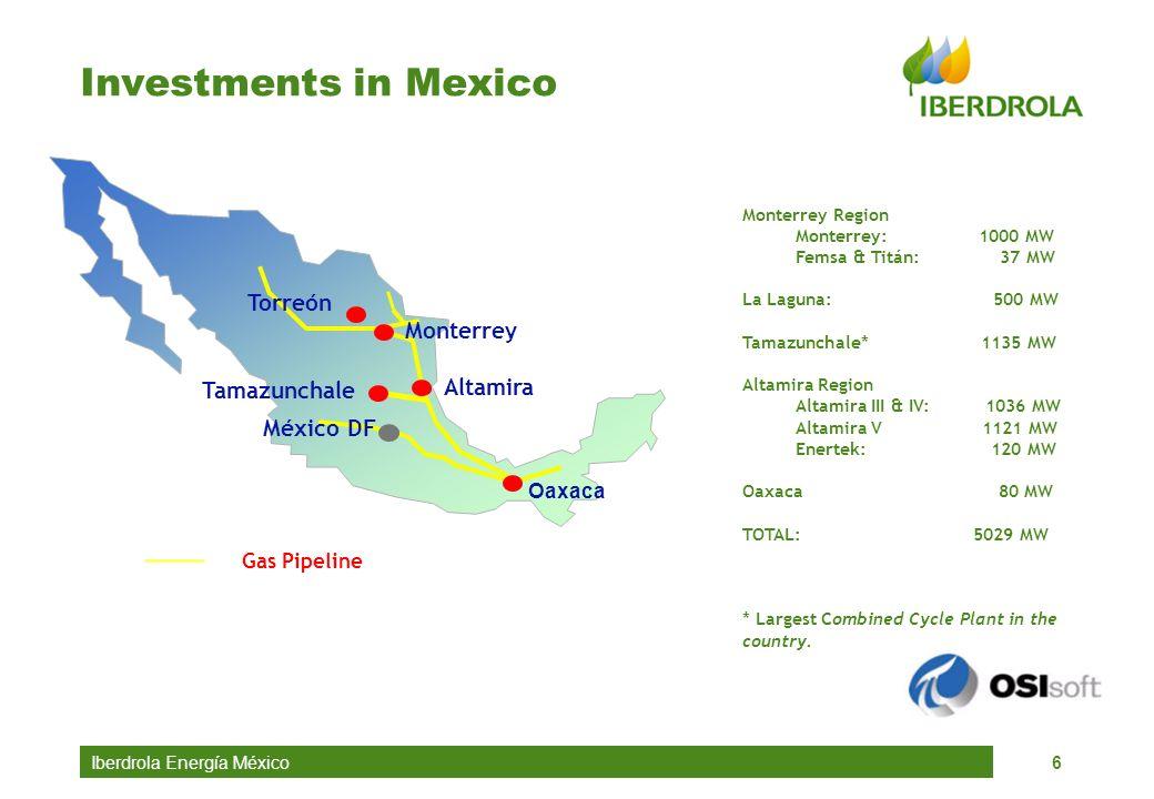 Iberdrola Energía México6 Investments in Mexico Monterrey Region Monterrey: 1000 MW Femsa & Titán: 37 MW La Laguna: 500 MW Tamazunchale* 1135 MW Altam