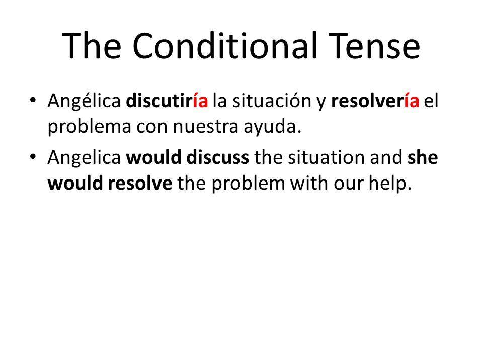 The Conditional Tense Angélica discutiría la situación y resolvería el problema con nuestra ayuda. Angelica would discuss the situation and she would
