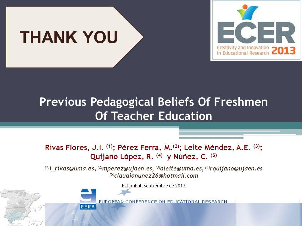 Previous Pedagogical Beliefs Of Freshmen Of Teacher Education Rivas Flores, J.I.