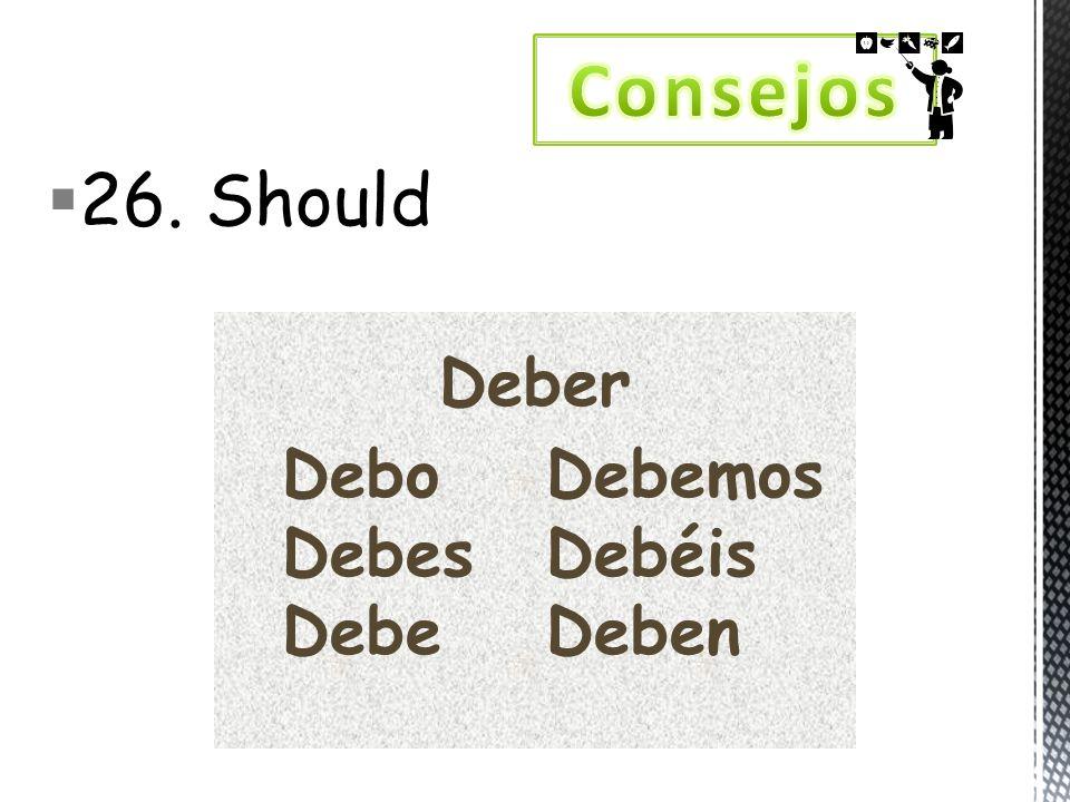 26. Should Deber DeboDebemos DebesDebéis DebeDeben