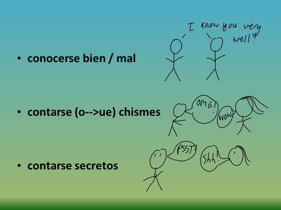 conocerse bien / mal contarse (o-->ue) chismes contarse secretos