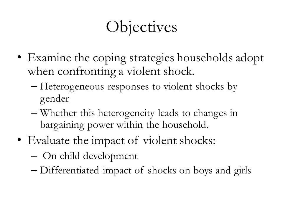 Objectives Examine the coping strategies households adopt when confronting a violent shock. – Heterogeneous responses to violent shocks by gender – Wh