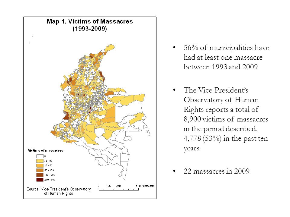 95.6% of municipalities have had people forcefully displaced between 1997 and 2009 The Presidential Agency for Social Accion (Acción Social) reports that 3.3 Million people have been forcefully displaced (7.9% of the Colombian population).