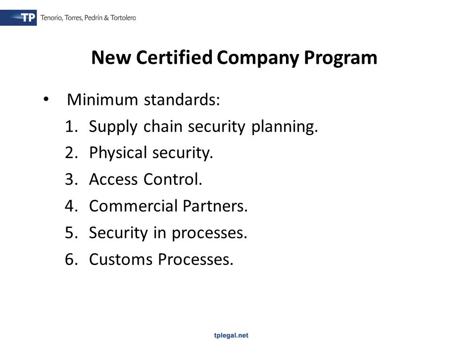 Minimum standards: 1.Supply chain security planning.