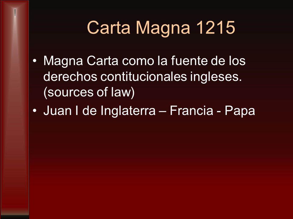 Carta Magna 1215 Magna Carta como la fuente de los derechos contitucionales ingleses.