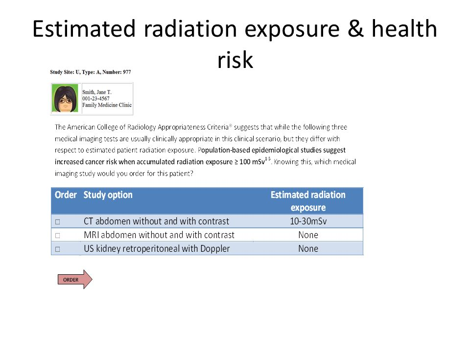 Estimated radiation exposure & health risk