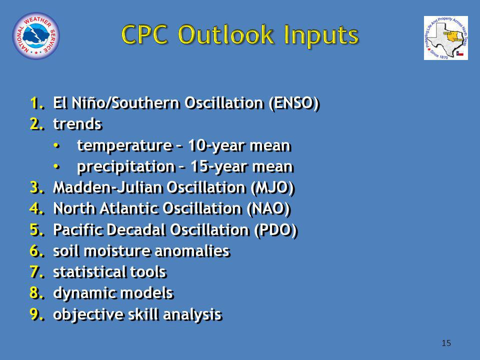 1.El Niño/Southern Oscillation (ENSO) 2.trends temperature – 10-year mean precipitation – 15-year mean 3.Madden-Julian Oscillation (MJO) 4.North Atlantic Oscillation (NAO) 5.Pacific Decadal Oscillation (PDO) 6.soil moisture anomalies 7.statistical tools 8.dynamic models 9.objective skill analysis 1.El Niño/Southern Oscillation (ENSO) 2.trends temperature – 10-year mean precipitation – 15-year mean 3.Madden-Julian Oscillation (MJO) 4.North Atlantic Oscillation (NAO) 5.Pacific Decadal Oscillation (PDO) 6.soil moisture anomalies 7.statistical tools 8.dynamic models 9.objective skill analysis 15