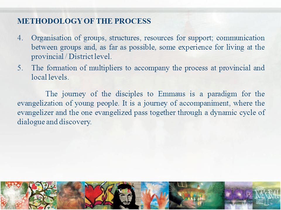 METHODOLOGY OF THE PROCESS 4.Organisation of groups, structures, resources for support; communication between groups and, as far as possible, some experience for living at the provincial / District level.