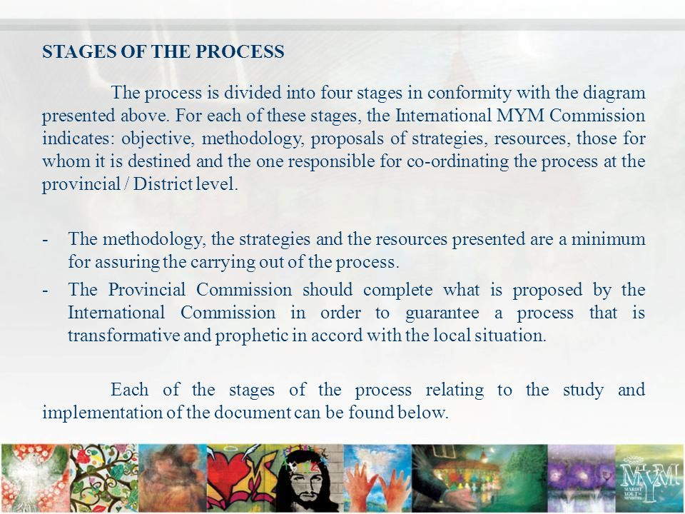 STAGES OF THE PROCESS The process is divided into four stages in conformity with the diagram presented above.