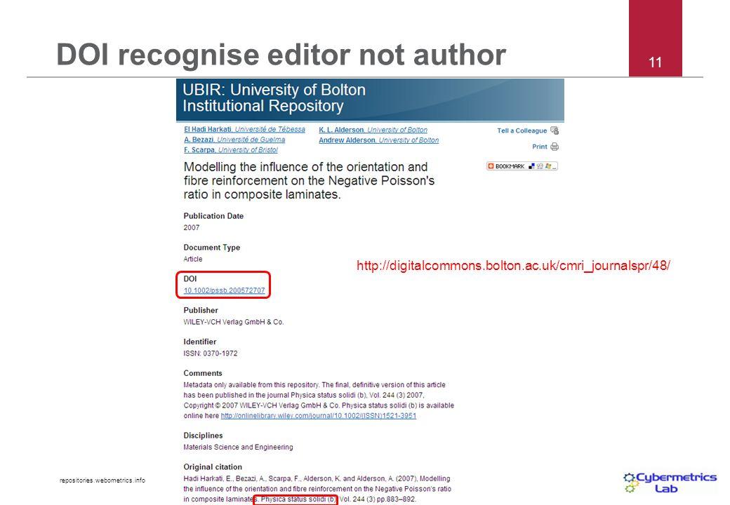 repositories.webometrics.info 11 DOI recognise editor not author http://digitalcommons.bolton.ac.uk/cmri_journalspr/48/