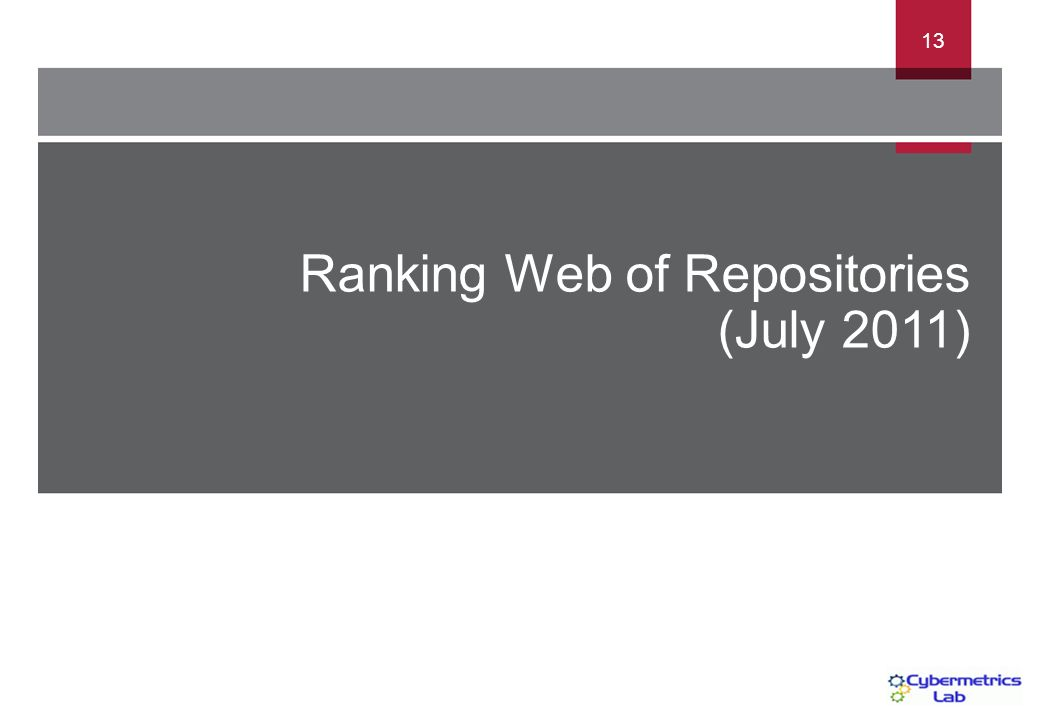 Ranking Web of Repositories (July 2011) 13