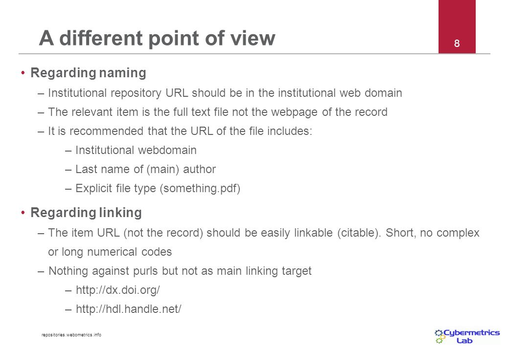 repositories.webometrics.info 9 http://www.openstarts.units.it/dspace/bitstream/10077/2267/1/13.pdf Recommended URL