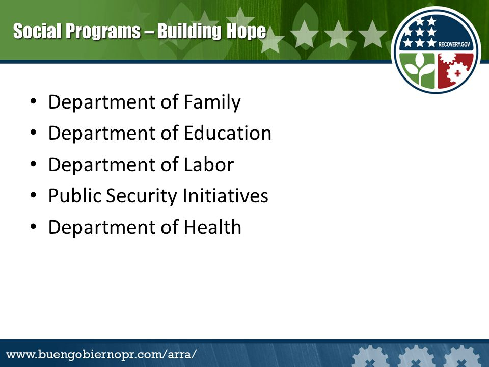 Department of Family Department of Education Department of Labor Public Security Initiatives Department of Health Social Programs – Building Hope