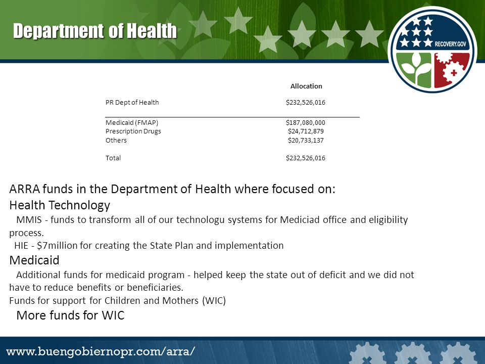 ARRA funds in the Department of Health where focused on: Health Technology MMIS - funds to transform all of our technologu systems for Mediciad office and eligibility process.