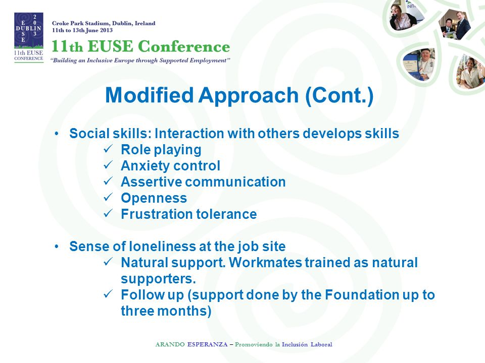 Modified Approach (Cont.) ARANDO ESPERANZA – Promoviendo la Inclusión Laboral Social skills: Interaction with others develops skills Role playing Anxiety control Assertive communication Openness Frustration tolerance Sense of loneliness at the job site Natural support.