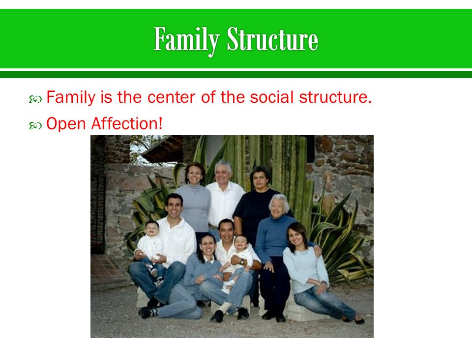 Family is the center of the social structure. Open Affection!