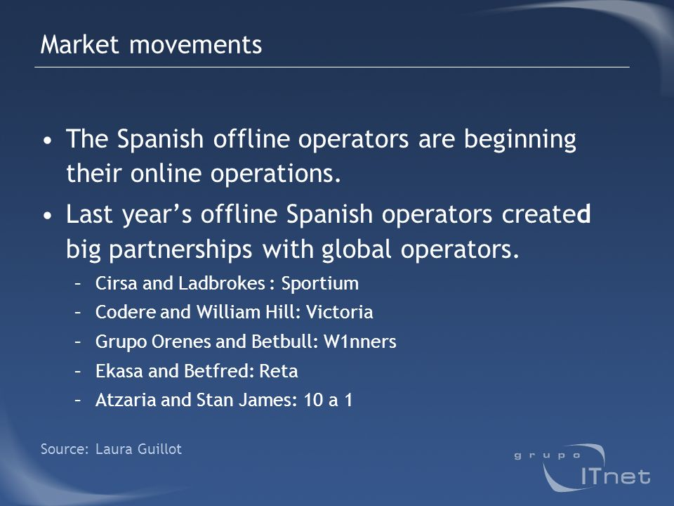 Market movements The Spanish offline operators are beginning their online operations. Last years offline Spanish operators created big partnerships wi