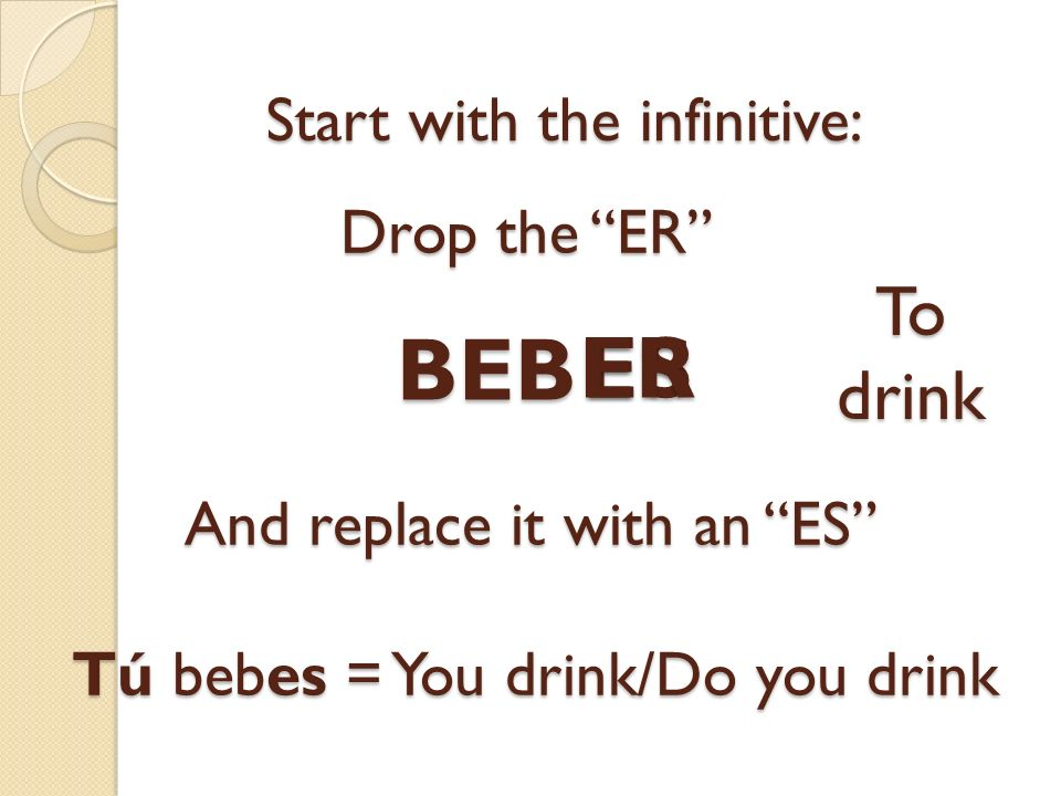 ES Start with the infinitive: BEB ER Drop the ER To drink And replace it with an ES Tú bebes = You drink/Do you drink