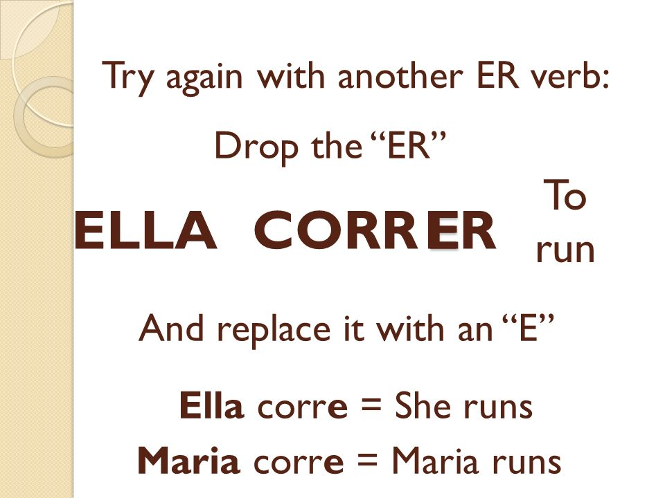 E Try again with another ER verb: CORRER Drop the ER To run And replace it with an E Ella corre = She runs ELLA Maria corre = Maria runs