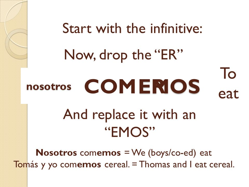EMOS Start with the infinitive: COMER Now, drop the ER To eat And replace it with an EMOS Nosotros comemos = We (boys/co-ed) eat Tomás y yo comemos ce