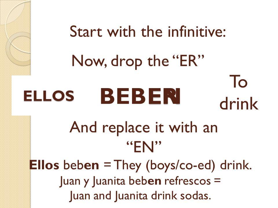 EN Start with the infinitive: BEBER Now, drop the ER To drink And replace it with an EN Ellos beben = They (boys/co-ed) drink. Juan y Juanita beben re