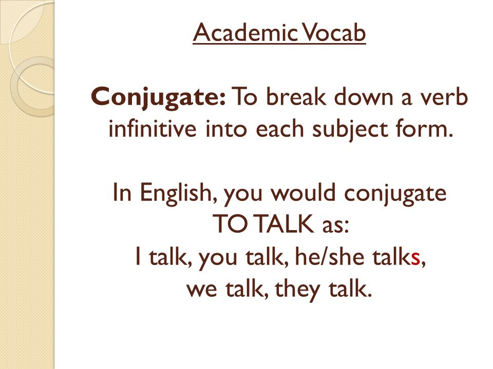 Academic Vocab Conjugate: To break down a verb infinitive into each subject form. In English, you would conjugate TO TALK as: I talk, you talk, he/she