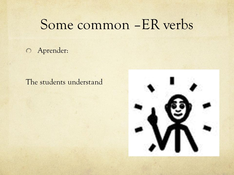 Some common –ER verbs Aprender: The students understand