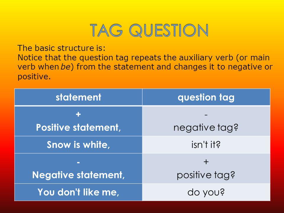 statementquestion tag + Positive statement, - negative tag.