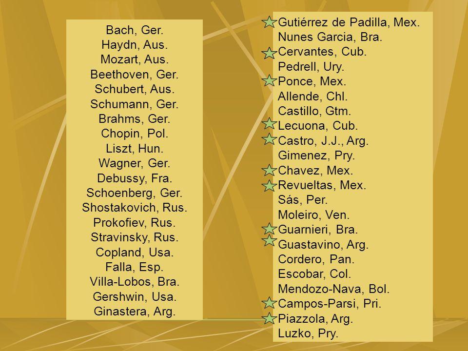 Bach, Ger. Haydn, Aus. Mozart, Aus. Beethoven, Ger.
