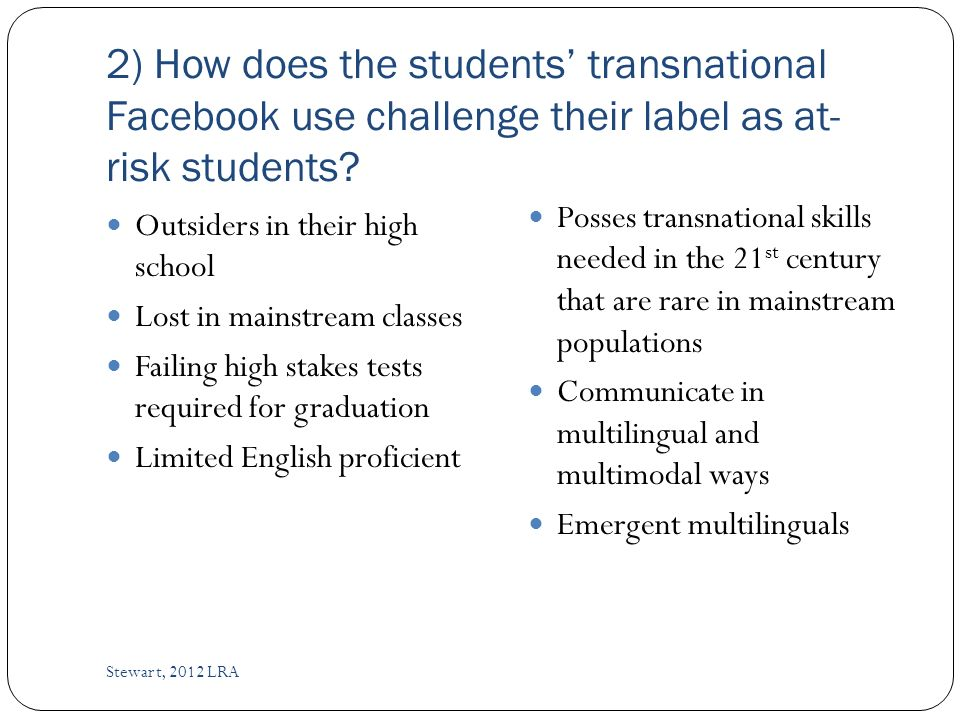 2) How does the students transnational Facebook use challenge their label as at- risk students.