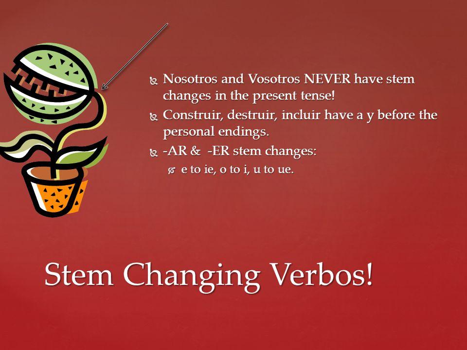 Nosotros and Vosotros NEVER have stem changes in the present tense.