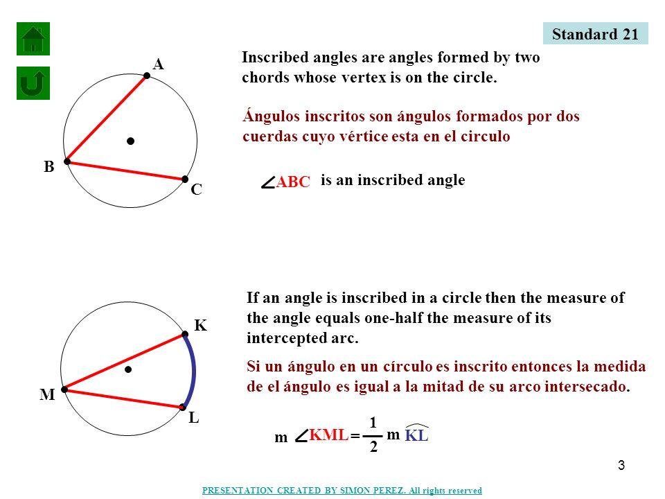 4 C B A (3x+5)° 40° (3X+5) = 1 2 (40°) = BAC m m BC 1 2 3X + 5 = 20 -5 3X = 15 3 X=5 Standard 21 PRESENTATION CREATED BY SIMON PEREZ.