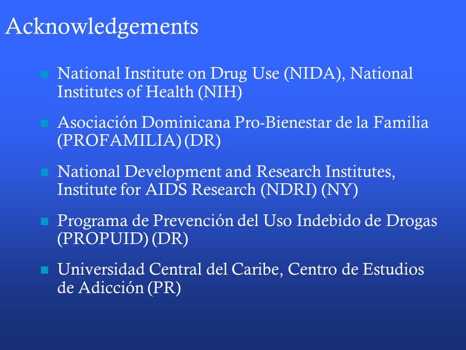 Acknowledgements National Institute on Drug Use (NIDA), National Institutes of Health (NIH) Asociación Dominicana Pro-Bienestar de la Familia (PROFAMILIA) (DR) National Development and Research Institutes, Institute for AIDS Research (NDRI) (NY) Programa de Prevención del Uso Indebido de Drogas (PROPUID) (DR) Universidad Central del Caribe, Centro de Estudios de Adicción (PR)