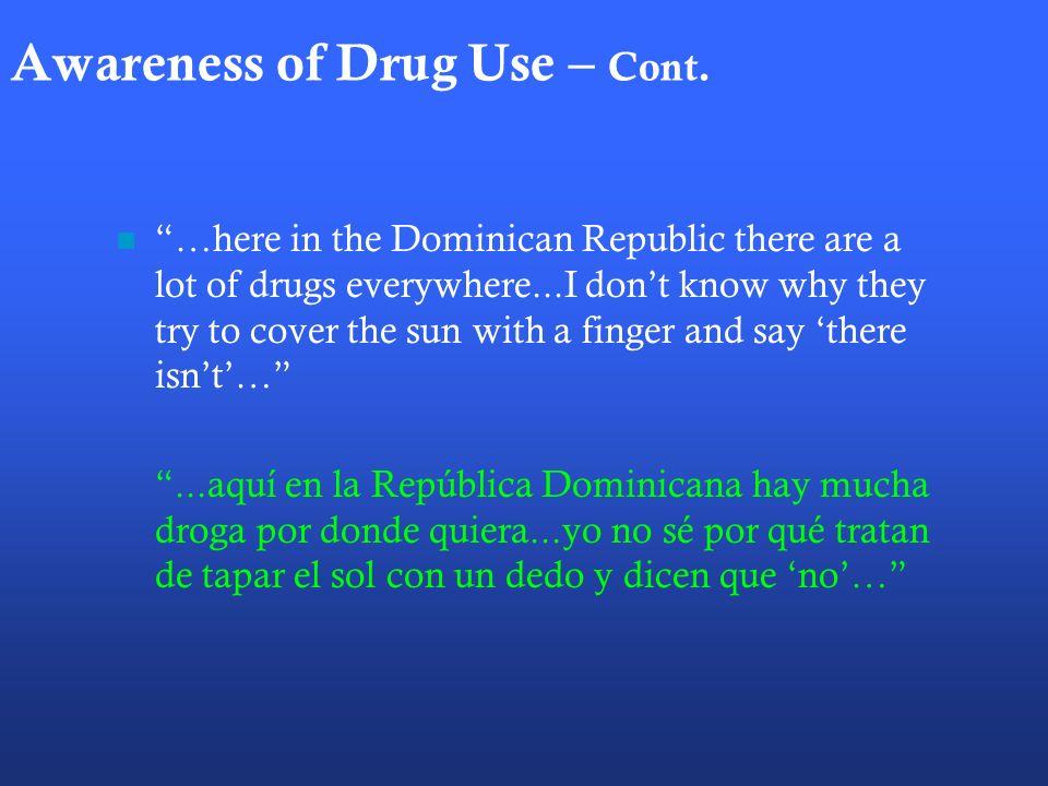 Awareness of Drug Use – Cont.