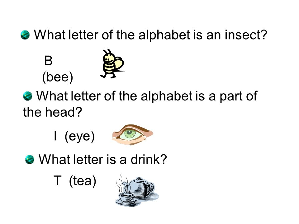 B (bee) What letter of the alphabet is an insect? What letter of the alphabet is a part of the head? I (eye) What letter is a drink? T (tea)