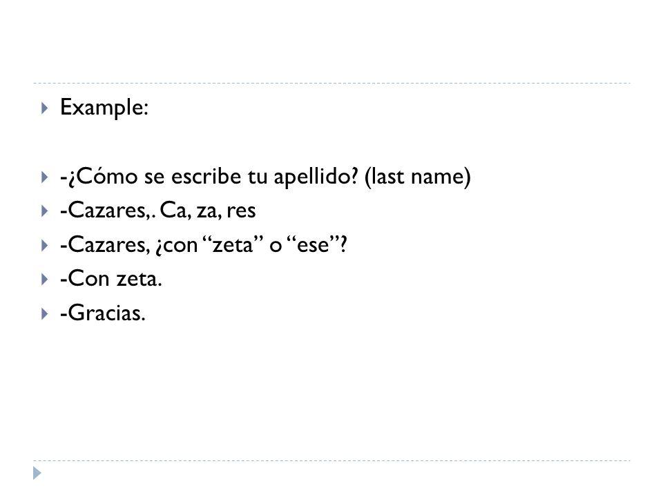 Example: -¿Cómo se escribe tu apellido? (last name) -Cazares,. Ca, za, res -Cazares, ¿con zeta o ese? -Con zeta. -Gracias.