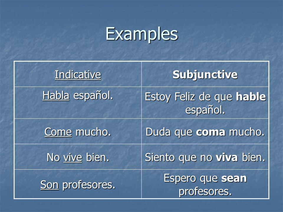 Examples IndicativeSubjunctive Habla español. Estoy Feliz de que hable español. Come mucho. Duda que coma mucho. No vive bien. Siento que no viva bien