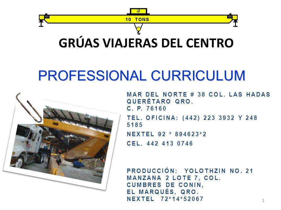 PROFESSIONAL CURRICULUM GRÚAS VIAJERAS DEL CENTRO 1 PRODUCCIÓN: YOLOTHZIN NO.