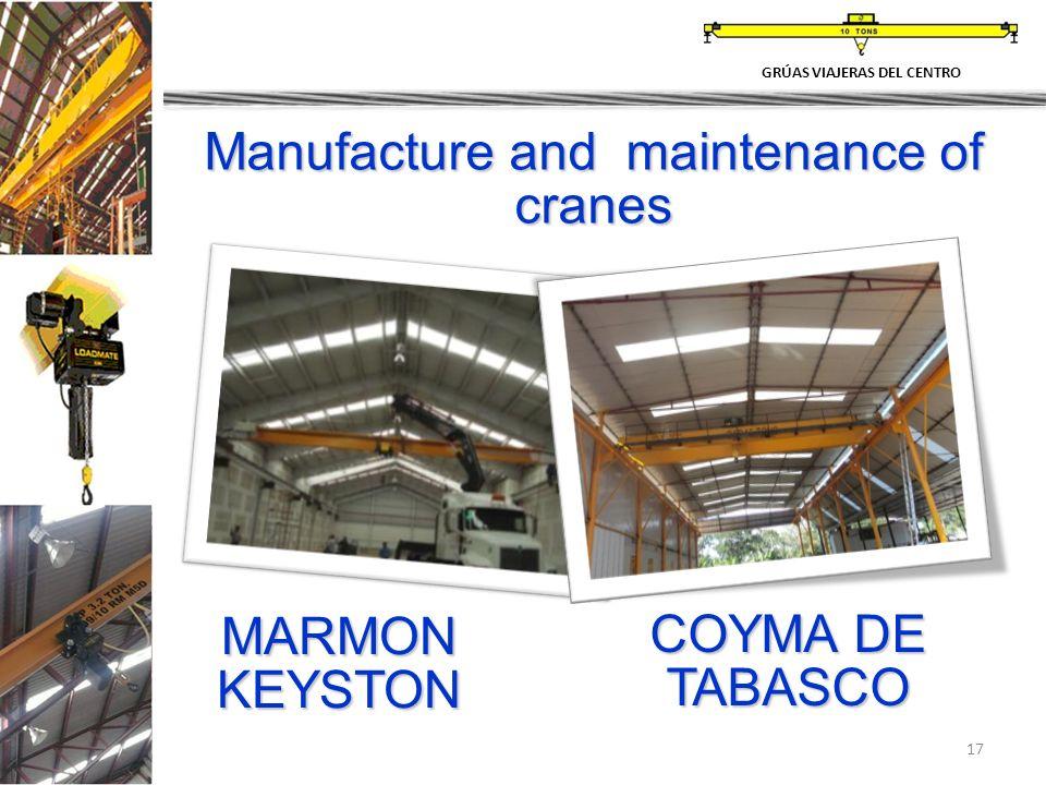 17 Manufacture and maintenance of cranes MARMON KEYSTON COYMA DE TABASCO GRÚAS VIAJERAS DEL CENTRO