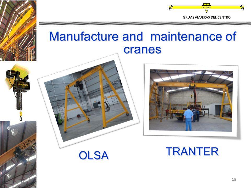 18 Manufacture and maintenance of cranes OLSA GRÚAS VIAJERAS DEL CENTRO TRANTER