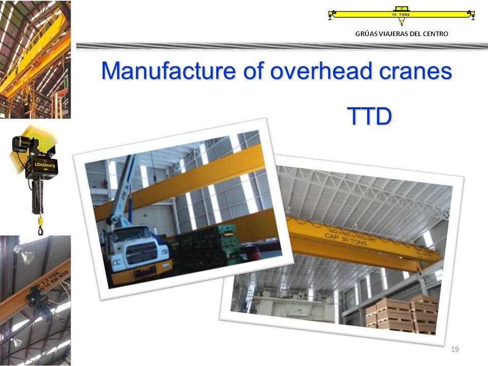 19 Manufacture of overhead cranes GRÚAS VIAJERAS DEL CENTRO TTD