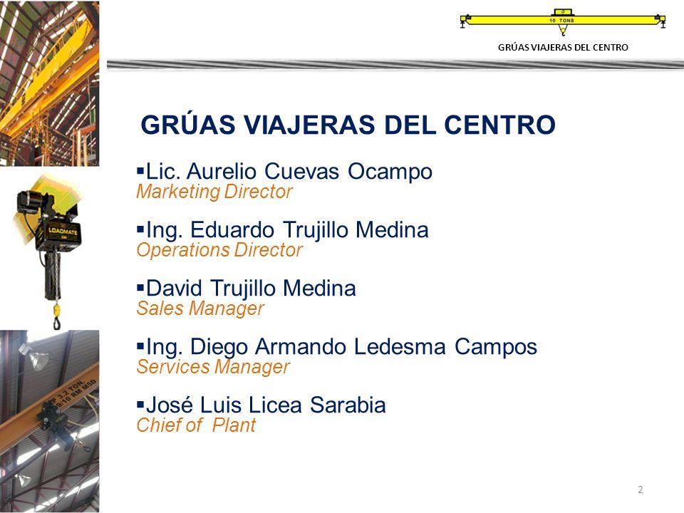 2 GRÚAS VIAJERAS DEL CENTRO Lic. Aurelio Cuevas Ocampo Marketing Director Ing.