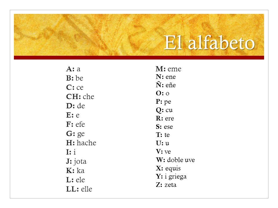El alfabeto A: a B: be C: ce CH: che D: de E: e F: efe G: ge H: hache I: i J: jota K: ka L: ele LL: elle M: eme N: ene Ñ: eñe O: o P: pe Q: cu R: ere