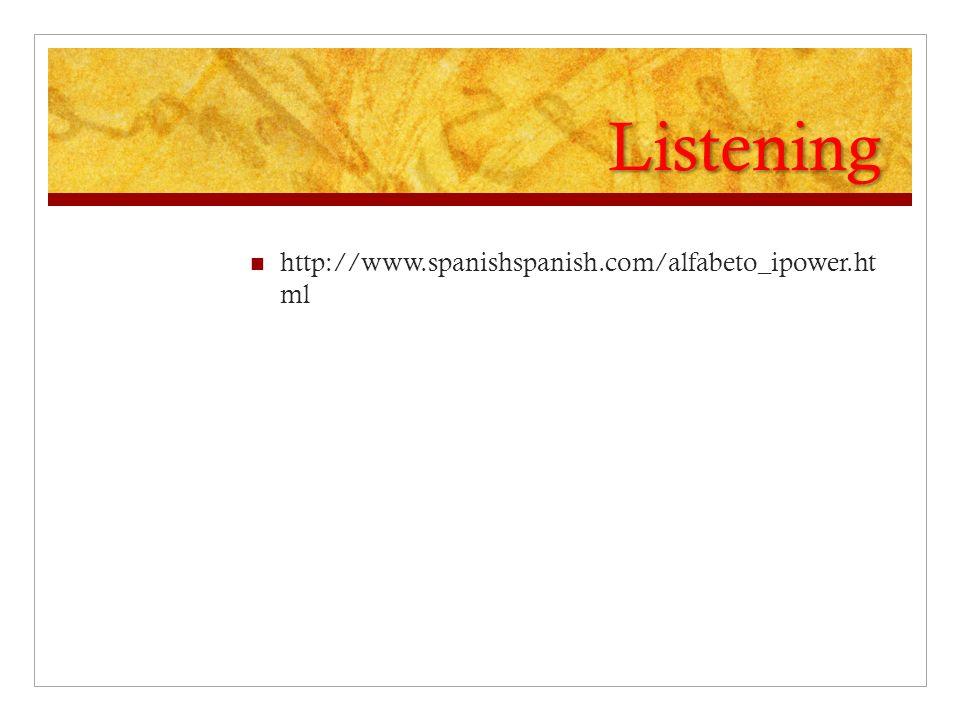 Listening http://www.spanishspanish.com/alfabeto_ipower.ht ml
