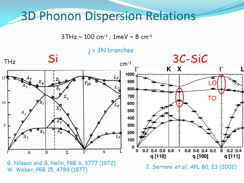 March 31st, 2008 3D Phonon Dispersion Relations 3THz ~ 100 cm -1 ; 1meV ~ 8 cm -1 3C-SiC J. Serrano et al., APL 80, 23 (2002) cm -1 LO TO Si THz G. Ni
