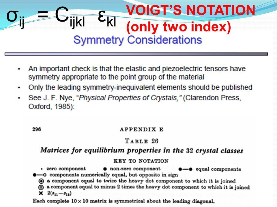 σ ij = C ijkl ε kl VOIGTS NOTATION (only two index)