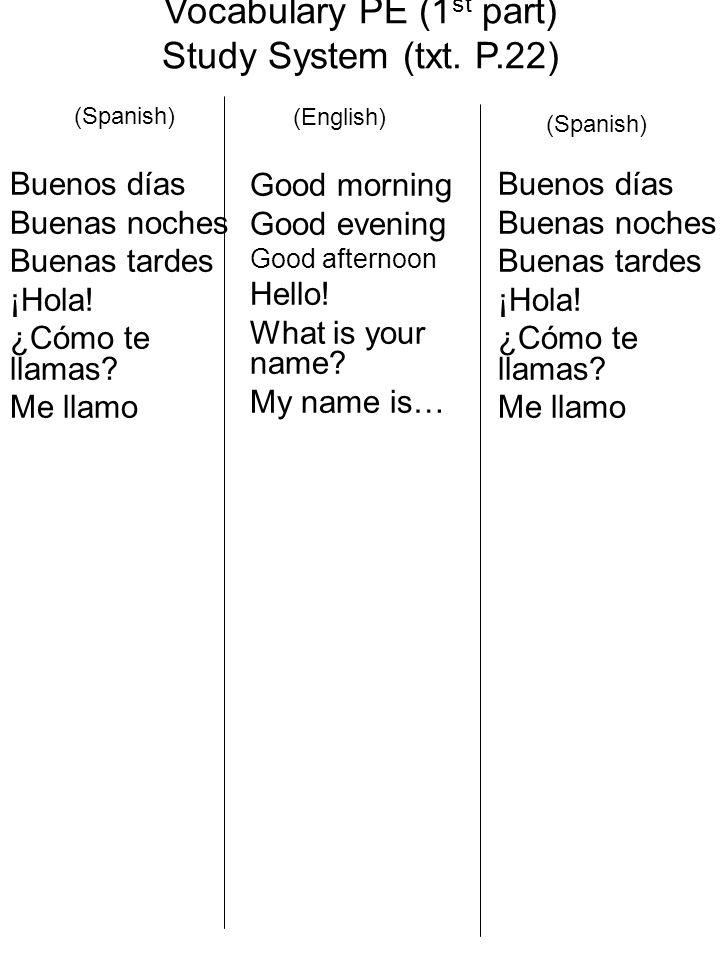 Vocabulary PE (1 st part) Study System (txt. P.22) Buenos días Buenas noches Buenas tardes ¡Hola.