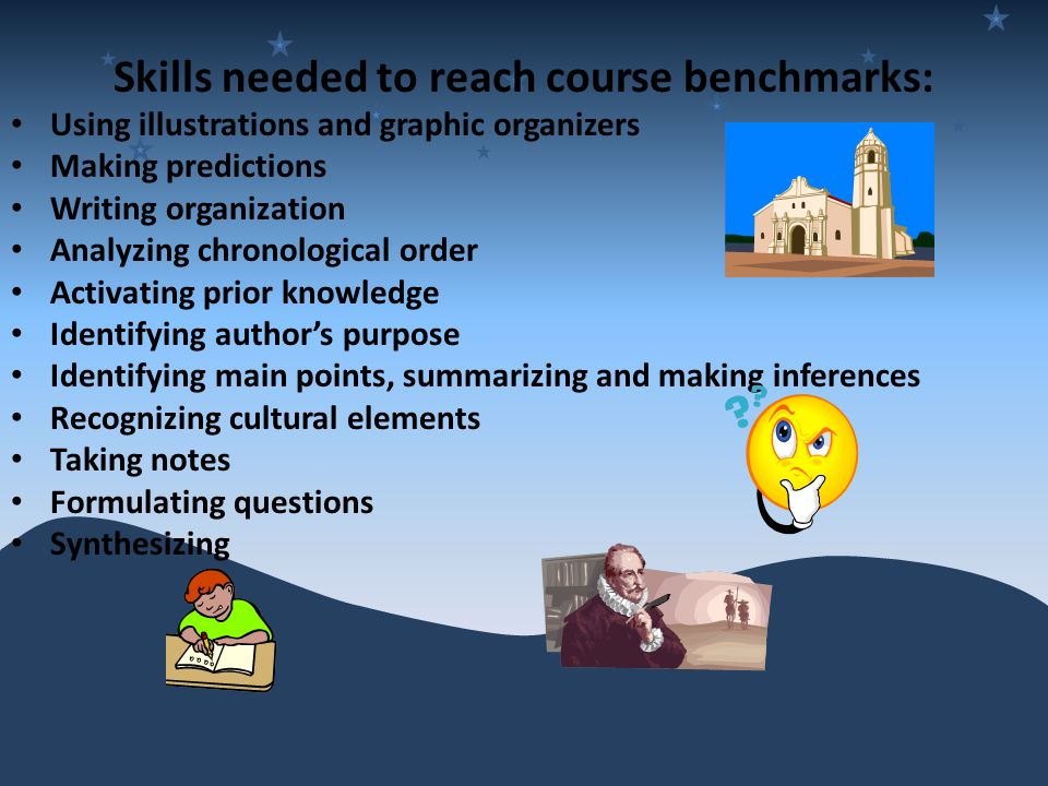 Skills needed to reach course benchmarks: Using illustrations and graphic organizers Making predictions Writing organization Analyzing chronological order Activating prior knowledge Identifying authors purpose Identifying main points, summarizing and making inferences Recognizing cultural elements Taking notes Formulating questions Synthesizing